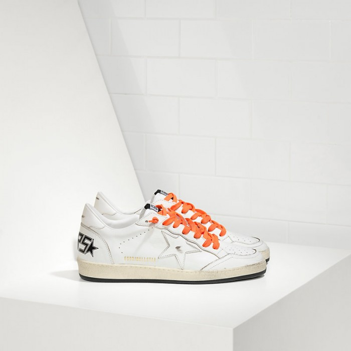 Men Golden Goose GGDB Ball Star Leather In Orange Lace Sneakers