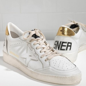 Men Golden Goose GGDB Ball Star Leather In White Gold Sneakers