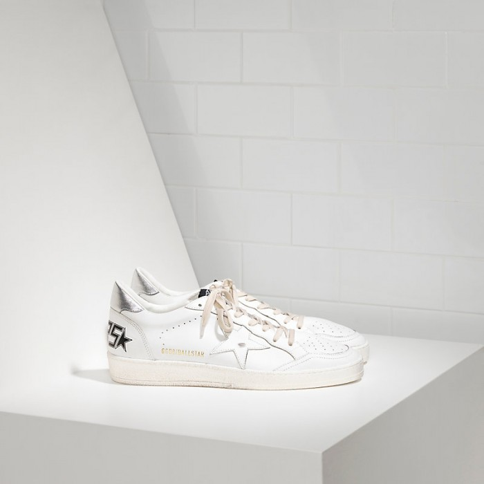 Men Golden Goose GGDB Ball Star Leather In White Silver Sneakers