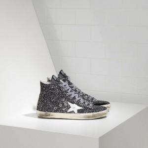 Men Golden Goose GGDB Francy All Over Glitter In Pelle Grey Glitter Sneakers