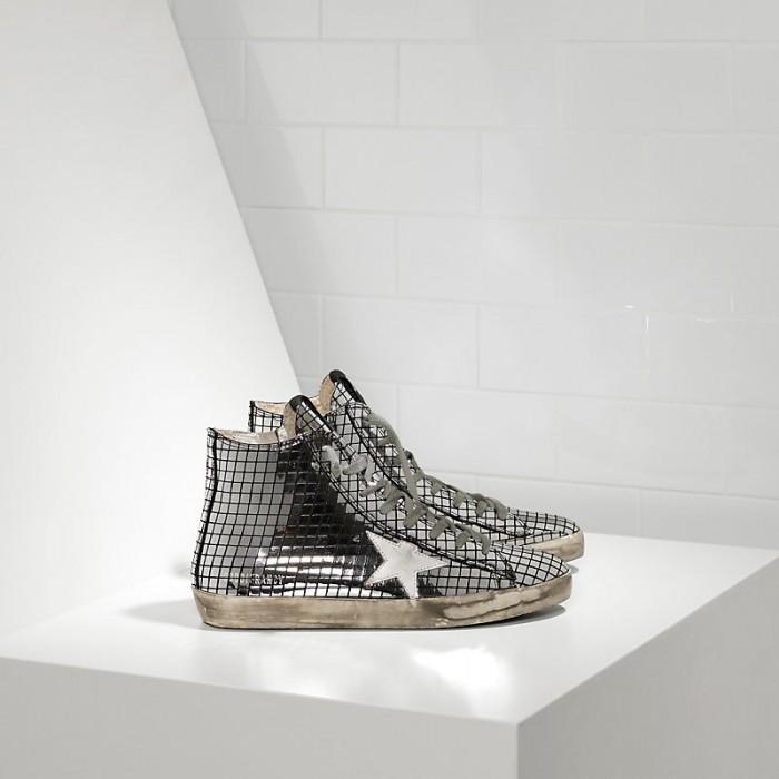 Men Golden Goose GGDB Francy In Glitter Silver Sneakers