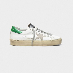 Men Golden Goose GGDB Hi Star With Laminated Heel Tab In White Green Sneakers