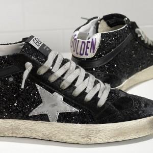 Men Golden Goose GGDB Mid Star All Over Glitter In Black Glitter Sneakers