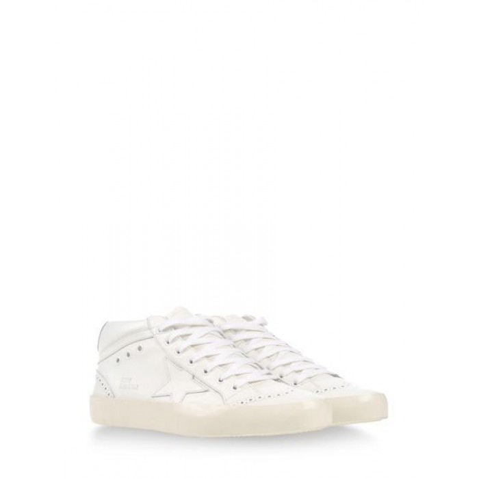 Men Golden Goose GGDB Mid Star In All White Sneakers