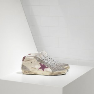 Men Golden Goose GGDB Mid Star In Camoscio White Pink Star Sneakers