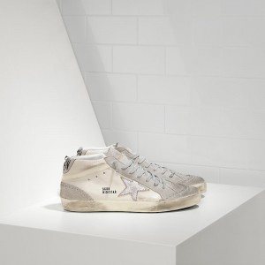 Men Golden Goose GGDB Mid Star In Camoscio White Silver Star Sneakers