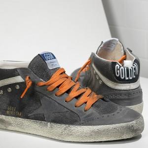 Men Golden Goose GGDB Mid Star In Canvas Denim Destroyed Sneakers