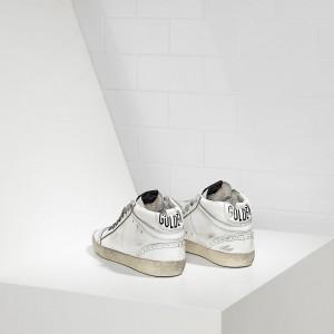 Men Golden Goose GGDB Mid Star Lucida Traforata White Polish Sneakers