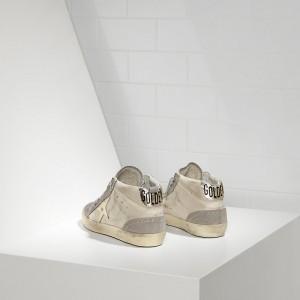 Men Golden Goose GGDB Mid Star White Gold Star Sneakers