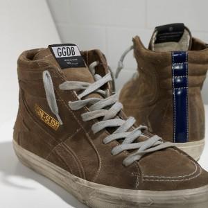 Men Golden Goose GGDB Slide In Camoscio Green Leather Bluett Sneakers