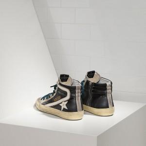 Men Golden Goose GGDB Slide In Pelle Black White Sneakers