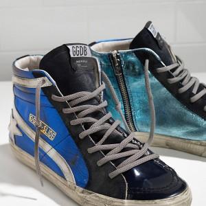 Men Golden Goose GGDB Slide In Pelle Blue Shades Sneakers