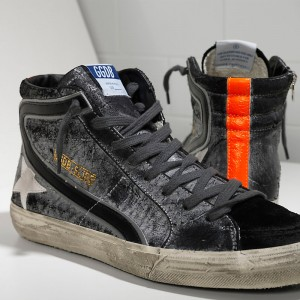 Men Golden Goose GGDB Slide In Pelle Savage Black Suede Sneakers