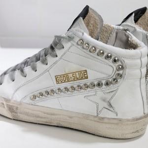 Men Golden Goose GGDB Slide In Pelle White Leather Studs Sneakers