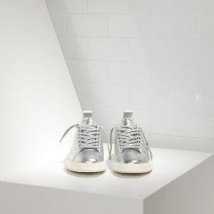 Men Golden Goose GGDB Starter In Laminato Silver White Sole Sneakers