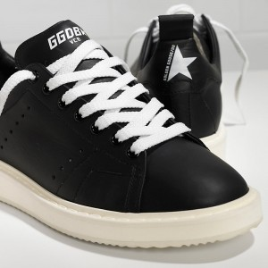 Men Golden Goose GGDB Starter In Calf Leather Black White Sole Sneakers