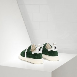 Men Golden Goose GGDB Starter In Calf Suede Green Suede White Sneakers