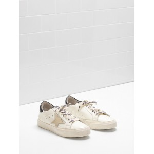 Men Golden Goose GGDB May Shiny Calfskin Leather Star In Golden Logo Sneakers