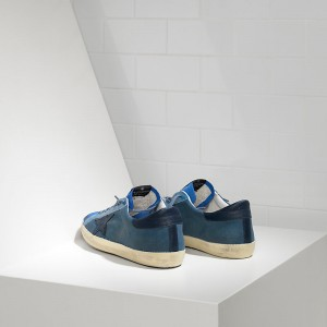 Men Golden Goose GGDB Superstar In Blue Canvas Sneakers