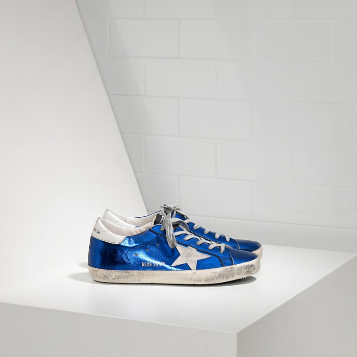 Men Golden Goose GGDB Superstar In Blue Laminated White Sneakers
