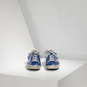 Men Golden Goose GGDB Superstar In Blue Laminated White Sneakers