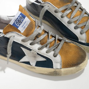 Men Golden Goose GGDB Superstar In Blue Leather Beige Sneakers