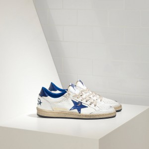 Men Golden Goose GGDB Superstar In Blue Star Logo White Leather Sneakers