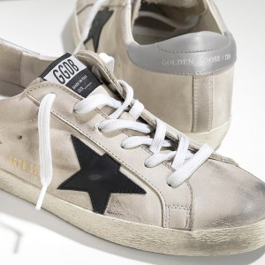 Men Golden Goose GGDB Superstar In Cream Nabuk Black Sneakers