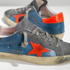 Men Golden Goose GGDB Superstar In Fluo Sky Red Fluo Star Sneakers