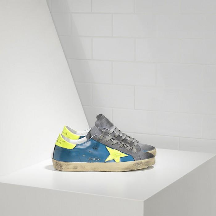 Men Golden Goose GGDB Superstar In Fluo Sky Yellow Fluo Star Sneakers