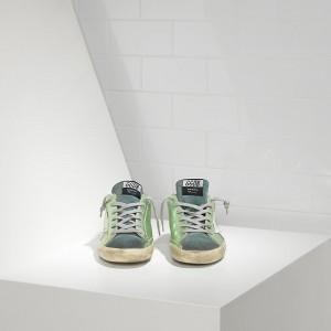 Men Golden Goose GGDB Superstar In Green Lame White Sneakers