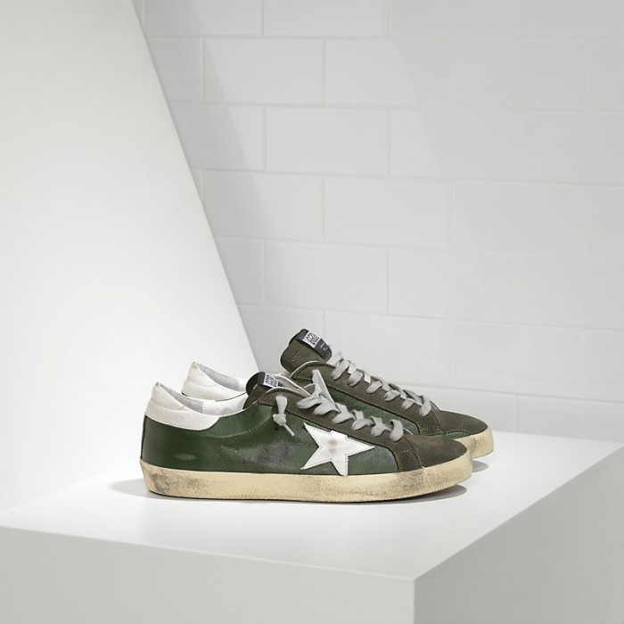 Men Golden Goose GGDB Superstar In Green Leather Forest Sneakers