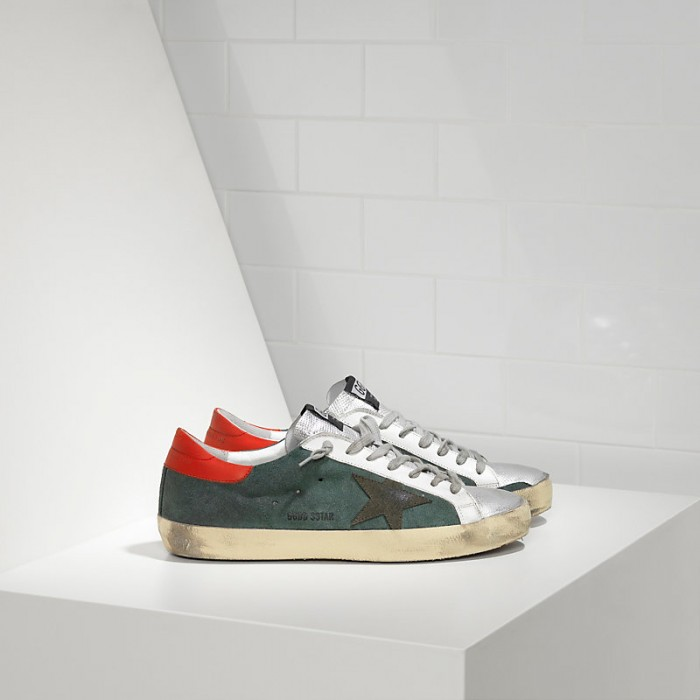 Men Golden Goose GGDB Superstar In Green Suede Red Silver Sneakers