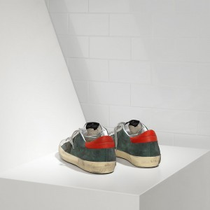 Men Golden Goose GGDB Superstar In Green Suede Red Silver Sneakers