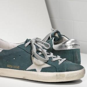 Men Golden Goose GGDB Superstar In Green Suede Silver Sneakers