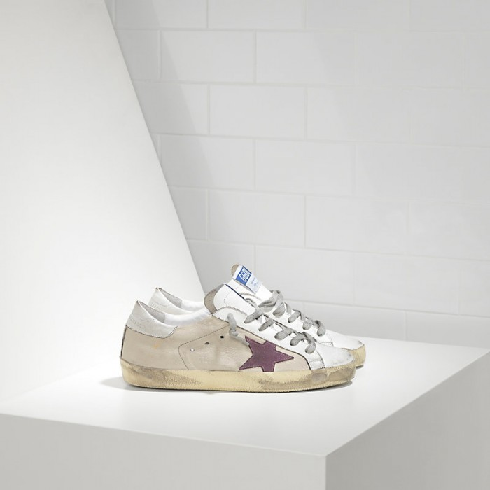 Men Golden Goose GGDB Superstar In Milk White Lilac Star Sneakers