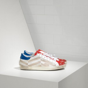 Men Golden Goose GGDB Superstar In Natural Canvas Flag Sneakers