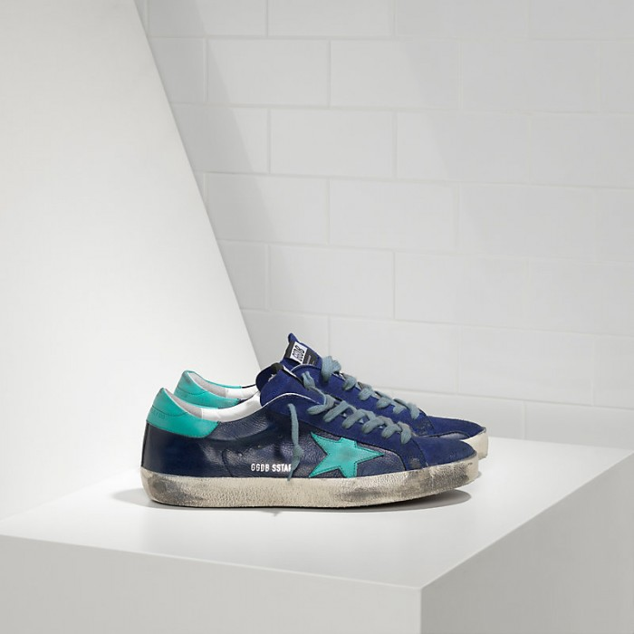 Men Golden Goose GGDB Superstar In Ny Leather Blue Sude Sneakers