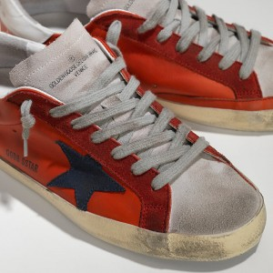 Men Golden Goose GGDB Superstar In Red Leather White Sude Sneakers