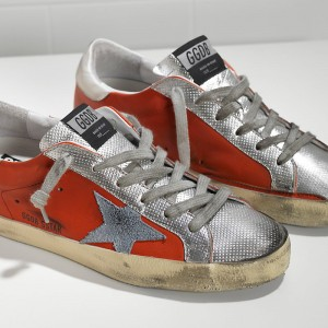 Men Golden Goose GGDB Superstar In Red Silver Leather Sneakers