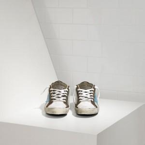 Men Golden Goose GGDB Superstar In Silver Net Bluette Sneakers