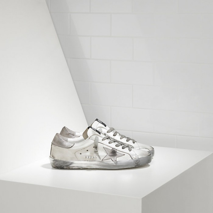 Men Golden Goose GGDB Superstar In Sparkle White Silver Sneakers