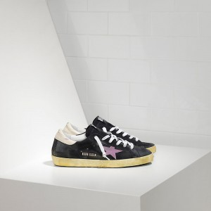 Men Golden Goose GGDB Superstar In Stickers Blue Suede Pink Sneakers
