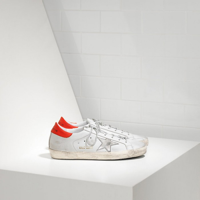 Men Golden Goose GGDB Superstar In White Leather Red Sneakers