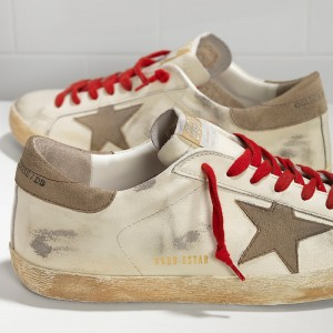 Men Golden Goose GGDB Superstar In White Red Lace Sneakers