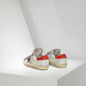 Men Golden Goose GGDB Superstar In White Red Violet Star Sneakers