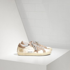 Men Golden Goose GGDB Superstar In White Satin Sneakers