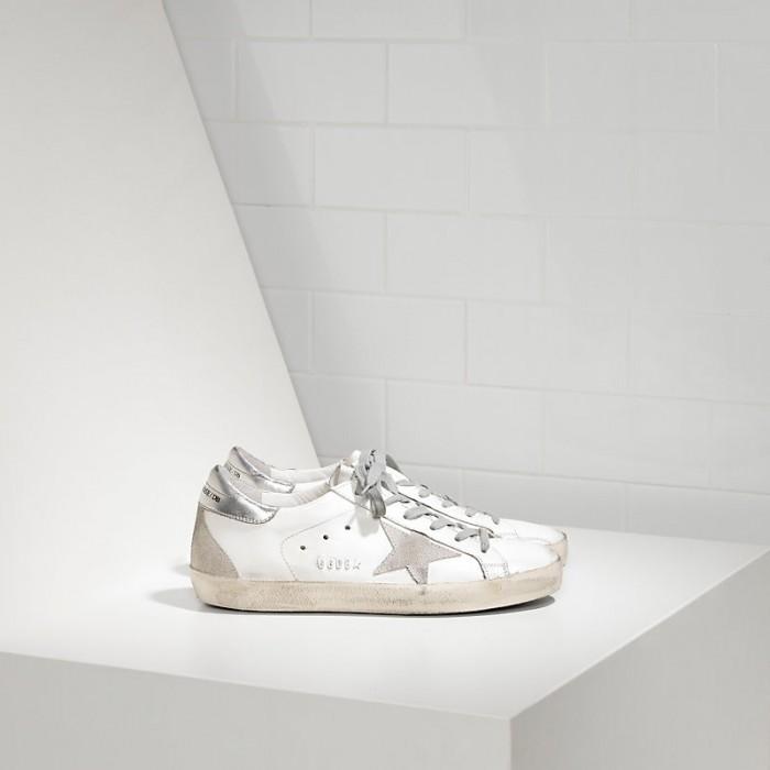Men Golden Goose GGDB Superstar In White Silver Metal Sneakers