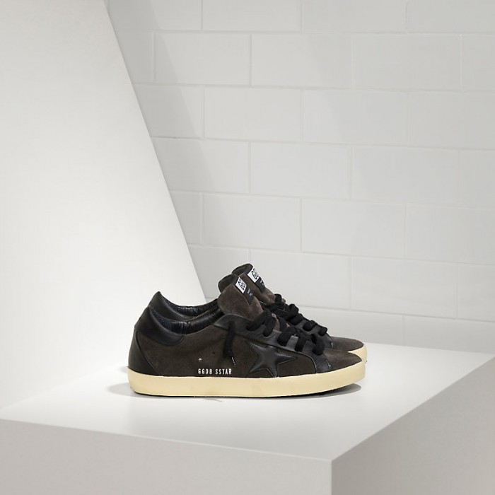 Men Golden Goose GGDB Superstar Leather In Asphalt Black Star Sneakers