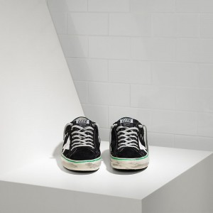 Men Golden Goose GGDB Superstar Leather In Black Suede Petrol Sneakers